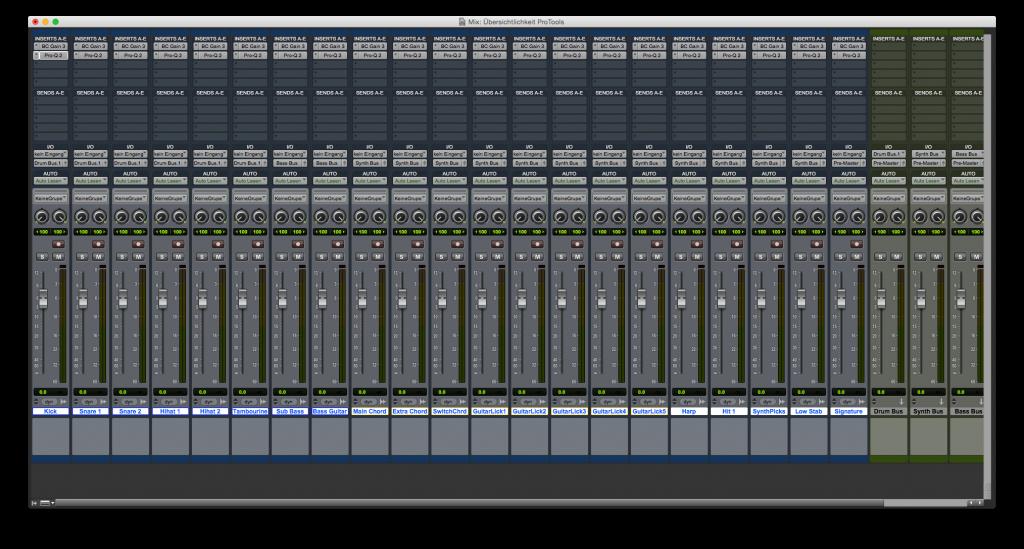 Übersichtlichkeit ProTools - Mix Vorbereitung Plugins 2