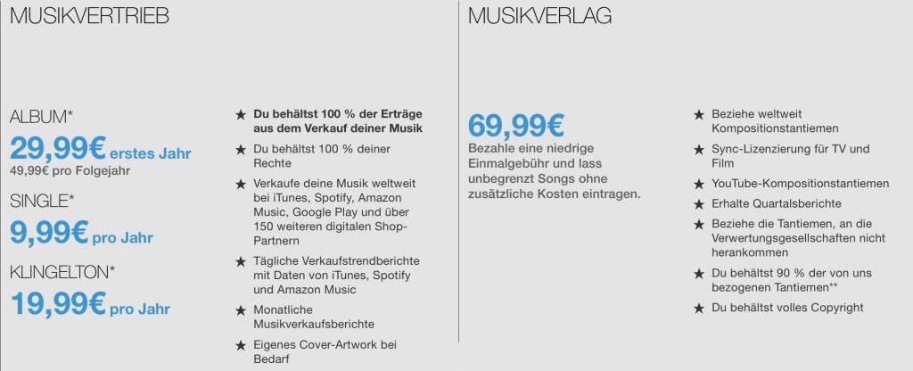 Tunecore Preismodell - Eigene Musik auf Spotify, iTunes, Amazon & Co. bringen - Andi Herzog